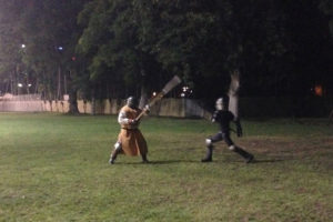 SCA heavy fighting with polearms in twilight
